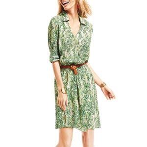 CAbi Women's Leaf Print Wrap Short Dress Small